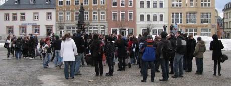 Protestaktion auf dem Annaberger Marktplatz